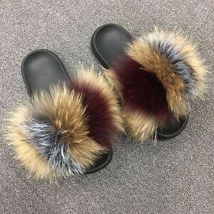 25e60b30454d Luxury Real Fox Raccoon Fur Sandal Shoes Flat Slides Indoor Slippers ...