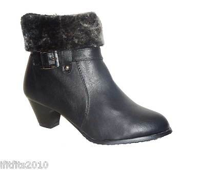 Ladies Womens Black Fur Top Mid Heel Zip Fastening Trim Ankle Boots 508
