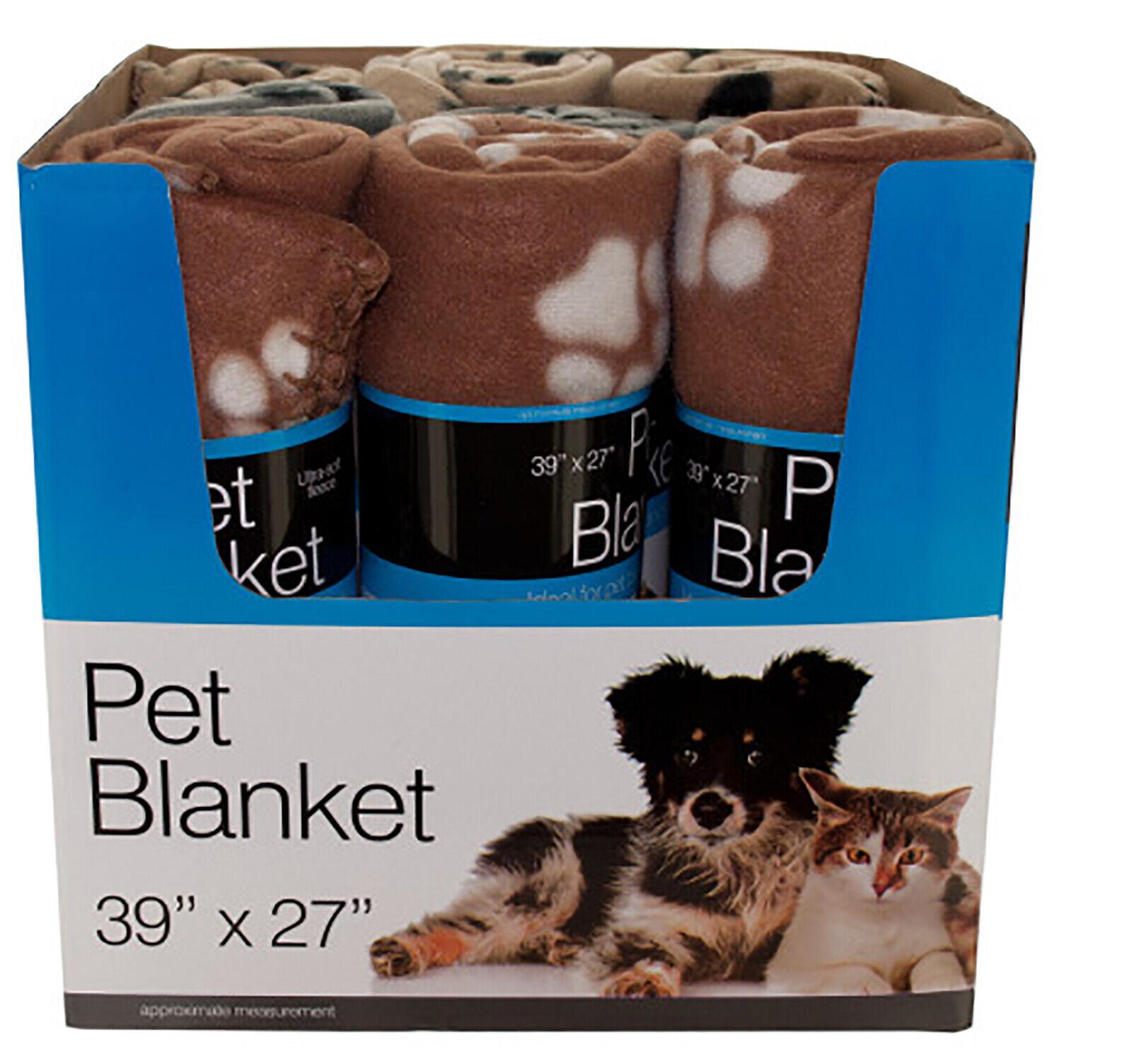 Paw Print Pet Blanket Soft Fleece 9pc Countertop Display Lot of 18 Ship Free