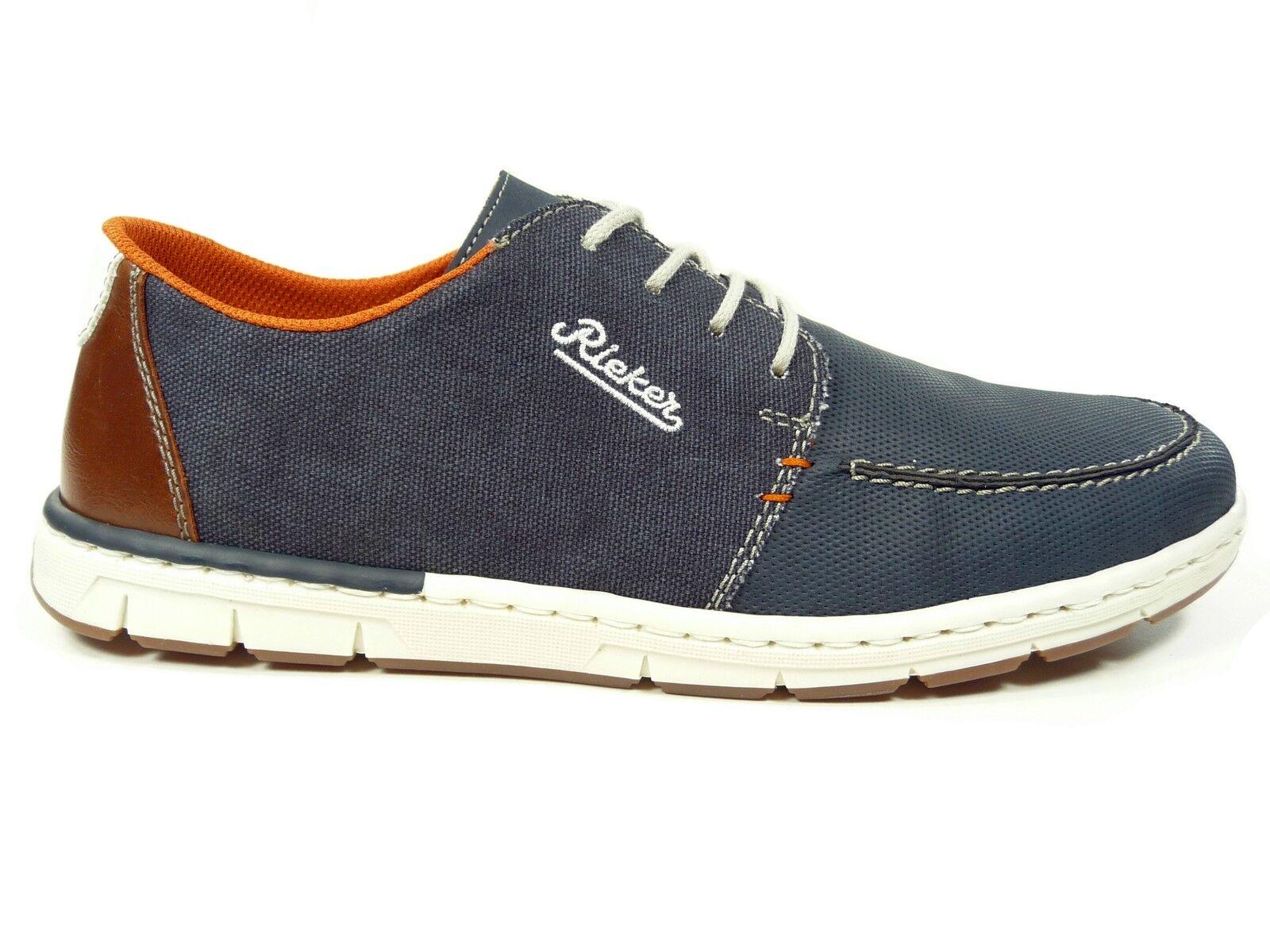 Rieker Herrenschuhe Halbschuhe Sneakers in Blau Weiss Orange 18935-14