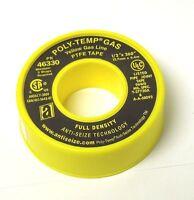 Teflon Tape Yellow Gas Line Ptfe 1/2 X 260 Full Density Thread Sealant 048er22