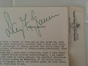 Details about Daryl F Zanuck Signed 1953 Letter w Enevolpe 20th Century Fox  Studio Mogul