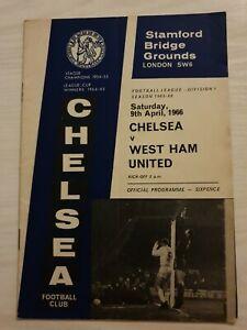 CHELSEA-v-West-ham-Utd-FOOTBALL-PROGRAMME-DIV-1-1965-66-VINTAGE-9-4-1966
