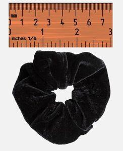 Black Velvet Hair Scrunchie Band Loop Tie Donut - Large Bobble Womens / Girls
