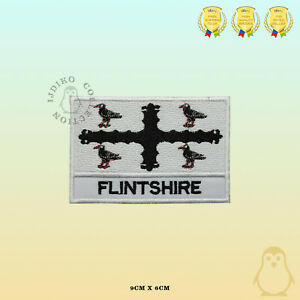 FLINTSHIRE County Flag With Name Embroidered Iron On Sew On Patch Badge