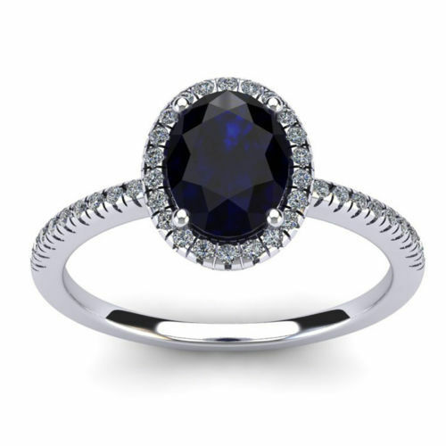 14K WHITE gold 1 3 4 CT OVAL GENUINE SAPPHIRE AND HALO DIAMOND RING, SIZE-8, 9