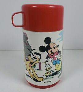 Vintage Mickey Mouse & Pluto Replacement Thermos Red Lid Disney (Thermos Only)