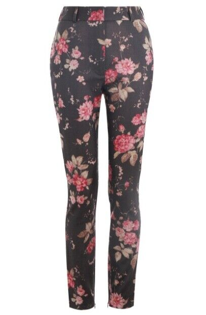 Zimmermann Fleeting Stovepipe Trousers   Ash Garden Floral, High Waist  800 RRP