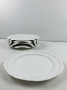 Lot-Of-8-Mikasa-Antique-White-HK-400-Ultimate-Super-Strong-Salad-Plates