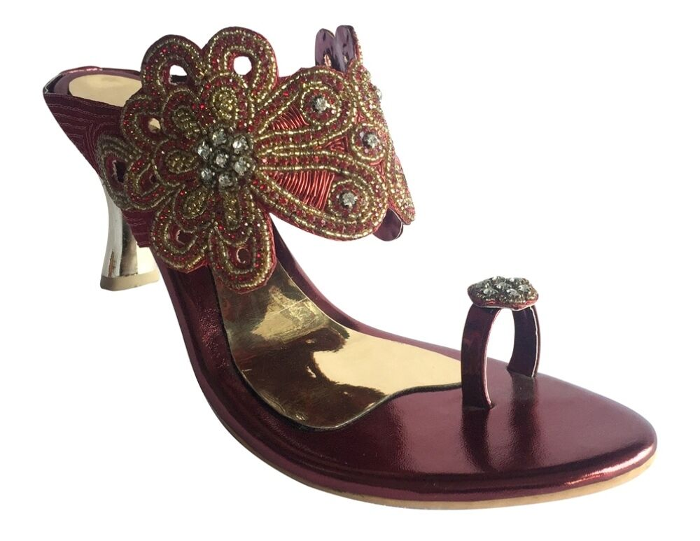 US WOMEN BEADED TOE RING SANDALS LOW HEEL PARTY SANDALS JUTTI KHUSSA SHOES DD469