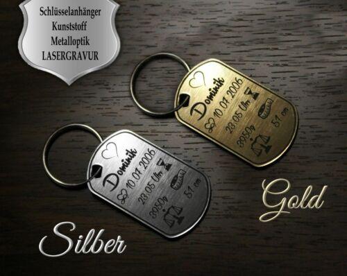 inkl Schlüsselanhänger SILBER o Text Gravur Geschenk Geburt GOLD farbig