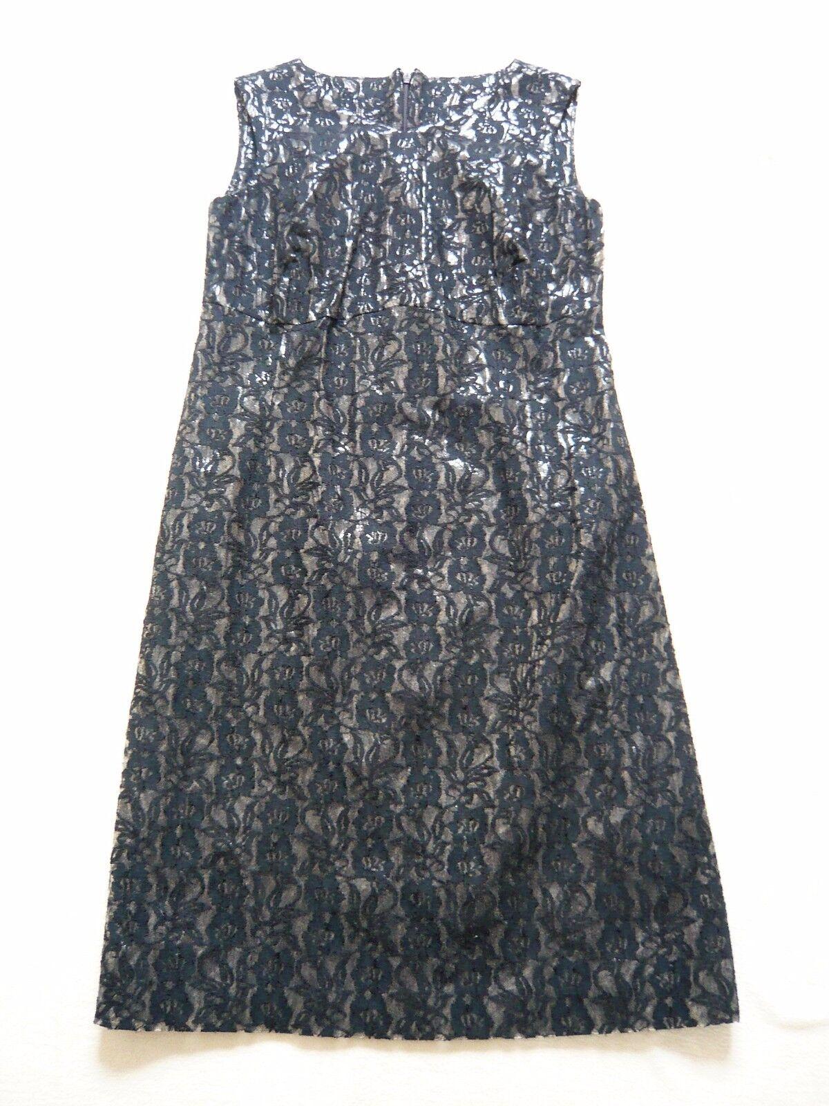 John Rocha NOUVEAU PVC Noir Dentelle Sans Manches Designer Robe Made in Ireland UK 10