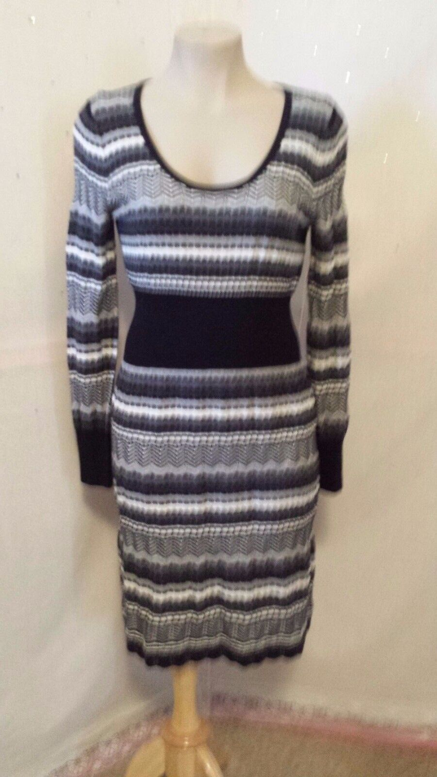 Spense Womens Dresses Size S Casual Long Sleeve Striped Pattern Knee Length