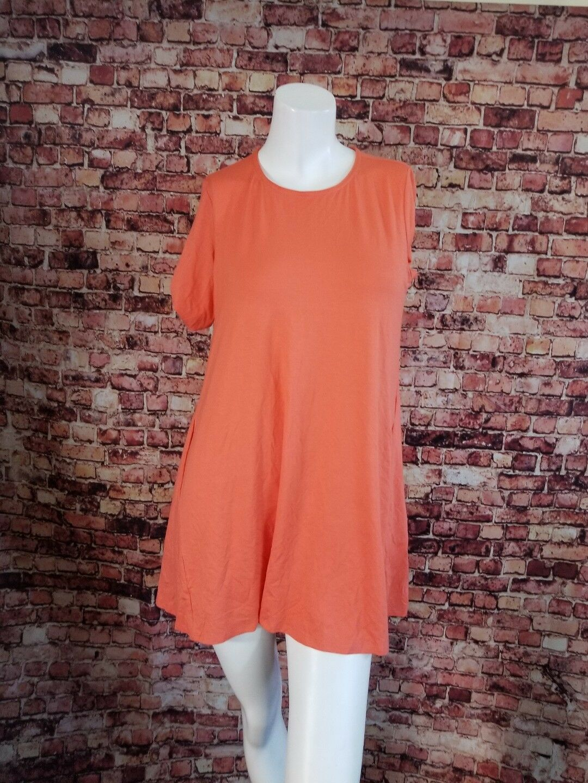 Eileen Fisher Petite Viscose Orange Mini Shirt Dress Größe PS