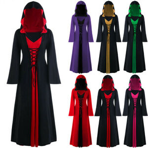 Halloween-Women-039-s-Hooded-Lace-Up-Patchwork-Long-Sleeve-Long-Maxi-Dress-Plus-Size
