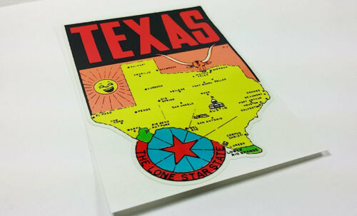 Vinyl Sticker State of Texas Vintage Style Travel Decal Luggage Label