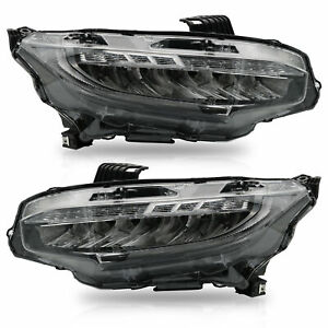 Custom-FULL-LED-Reflector-Sequential-Headlights-with-DRL-Bar-For-16-19-Civic