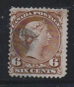 Canada-Sc-27a-1868-6-c-yellow-brown-Large-Queen-Victoria-stamp-used