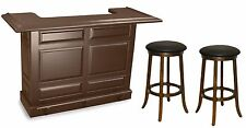 Imperial Home Bar w/ 2 FREE Stools Set - Antique Walnut Finish - Special Price!