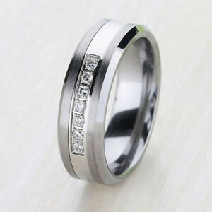 Image is loading Luxury-Best-Tungsten-Ring-Lab-Diamonds-Mens-Wedding-