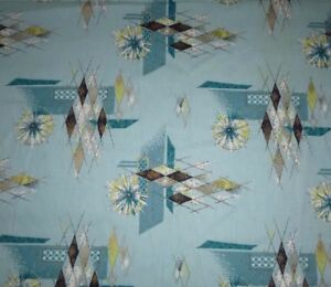 NOS-Yd-Vtg-ATOMIC-Turquoise-Aqua-Cotton-Barkcloth-41-5-034-By-The-Yard-Deadstock