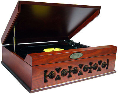 PYLE MAHOGANY RETRO VINTAGE STYLE WOODEN TURNTABLE RECORD PLAYER USB to PC NEW