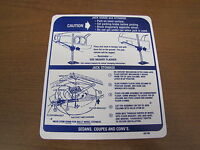 1970 Gto Lemans Tempest Jack Instruction Decal