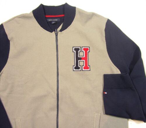 Tommy Hilfiger Men/'s Gray Terrenz Colorblock Logo Patch Baseball Zip Sweater