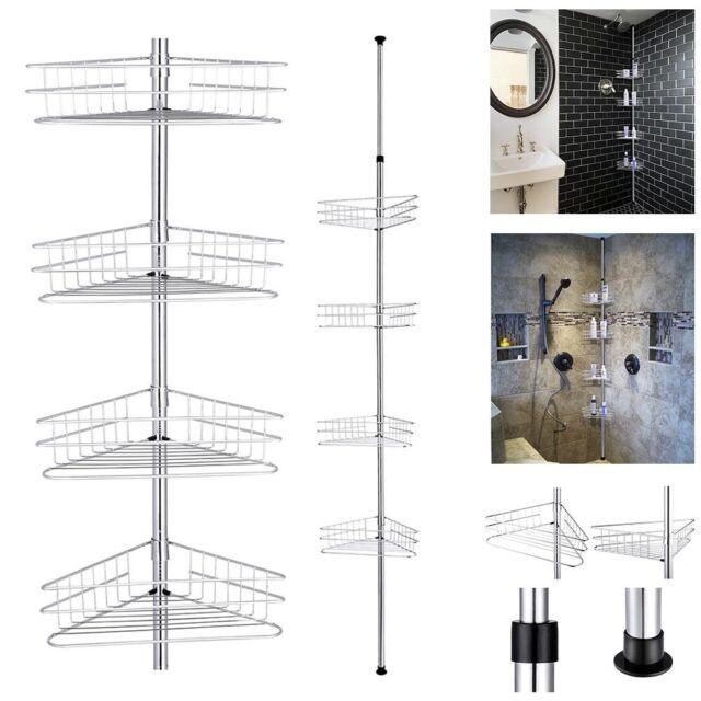 4 Tier Bathroom Corner Shelf Shower Caddy Telescopic Pole Storage Organizer Rack For Sale Online Ebay