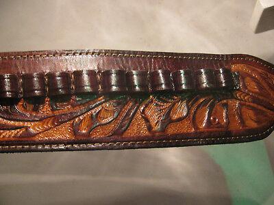 BANDOLIER BANDOLERO Ammo Belt of Brown Cowhide Leather 50-70 govt Caliber