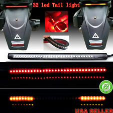 "Universal 8"" Motorcycle Light Strip Tail Brake Stop Turn Signal 32LED Flexible"