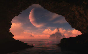 framed print fantasy planets through the mouth of a sea cave