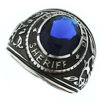 Sheriff Department Montana Blue Stone Silver Stainless Steel Mens Ring