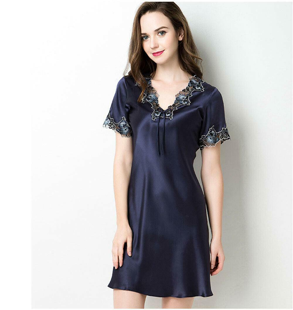 Elegant Women's Pure 100% Silk Chemise Nightgown Lacy Silk Sleepwear Dress Top
