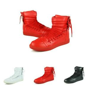 Mens-Hip-hop-Outdoor-High-Top-Lace-Up-Athletic-Straps-Street-Shoes-Sneakers-New