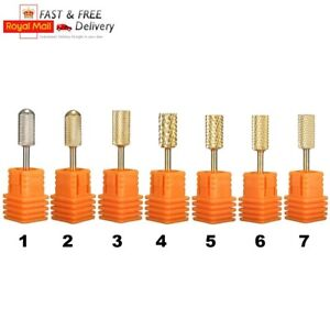 3-32-039-039-Gold-Carbide-Nail-Drill-Bits-Polish-File-Broach-Smooth-Top-Manicure