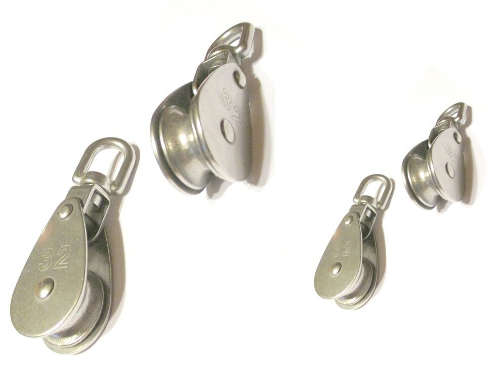 7x Block Edelstahl A2 Messingbuchse Wirbel Umlenkrolle Seilblock Seilrolle 8369
