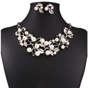 Women-Pearl-Jewelry-Pendant-Chain-Crystal-Choker-Chunky-Bib-Statement-Necklace