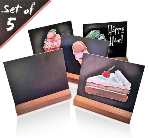 5 X 6 Inch Mini Tabletop Chalkboard Signs with Vintage Rustic Style Wood Base