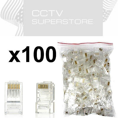 1000 pcs RJ45 Network Modular Plug Cat5 CAT5e Connector Clear 8p8c Gold Plated