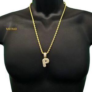 Carta-de-burbuja-Personalizados-inicial-P-Chapado-en-Oro-helado-de-Circonio-Cubico-Colgante-Collar