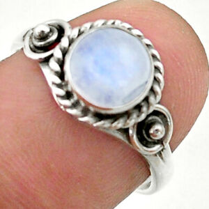 925 Silver 2.30cts Solitaire Natural Rainbow Moonstone Round Ring Size 7 T41235
