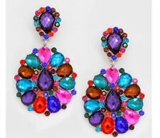 "3"" BiG Long Crystal Multi ColoR Rhinestone Purple Earrings Drag Queen CLIP ON"
