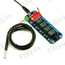 4 Channel USB/Wireless Relay WIFI IOS/Android Control Kit (+wifly mod + DS18B20)