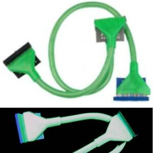Lot4-long3ft-36-034-Dual-2Device-80Wire-IDE-HD-CD-DVD-PATA-Round-Cable-Cord-UV-GREEN