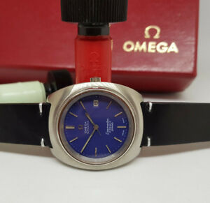VINTAGE-OMEGA-SEAMASTER-COSMIC-2000-BLUE-DIAL-DATE-AUTOMATIC-MAN-039-S-WATCH