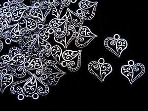 20-Pcs-13mm-Tibetan-Silver-Filigree-Heart-Pendants-Charms-Jewellery-Craft-J155