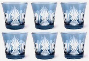 """Votive Candle Holder Glass Sky Blue Color Floral Design 3.5/""""Dia 2.75/""""High Set//6"""