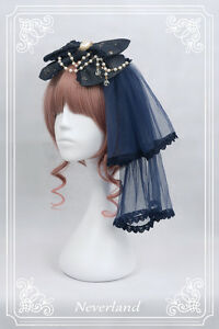 Bronzing Big Bowknot Beaded Chain with Veil Headdress Headband KC Lolita Women