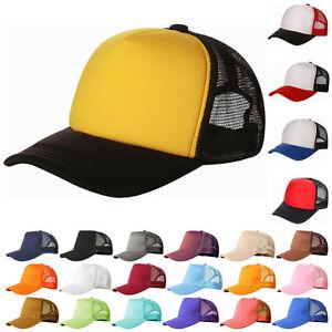IK- Mesh Baseball Cap Trucker Hat Blank Curved Visor Hat Adjustable ... 6fe9ff0e2f35